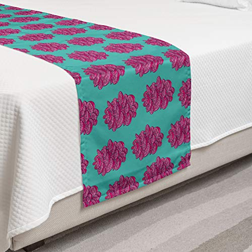 Lunarable Natural Bed Runner, Abstract Shimeji Mushrooms Pattern Organic Edible Vegetable Foods Bicolour, Decorative Accent Bedding Scarf for Hotels Homes and Guestrooms, Turquoise Magenta