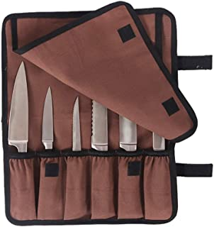 Brown Chef's Knife Roll Bag,Custom Fit Oxford Knife Storage Case,Portable Kitchen Utensils Tool Roll Pouch, Professional Knife Cutlery Carrier Holders, Satisfaction Guarantee Purchase Universal Size