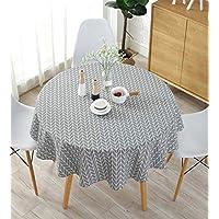Meiwash - Manteles impermeables de lino - Fáciles de limpiar - Estilo sencillo - Manteles de sarga Multiusos - Para interior y exterior, algodón, Gris, Diameter 150cm