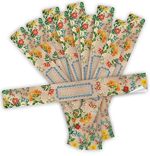 Logbuch-Verlag 25 pegatinas de regalo XXL vintage floral con flores – pegatinas largas para escribir – Cinta de embalaje 5 x 42 cm