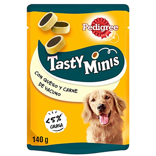 Pedigree Tasty Mini Snacks para Perros sabor Queso y Buey (Pack 6 x 140g) ⭐