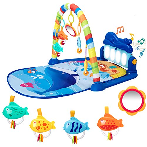 Baby Play Mat Baby Gym, Kick and Play Piano Tummy Time Baby Activity Gym Mat with 5 Infant Learning Sensory Baby Toys, Music and Lights Boy & Girl Gifts for Newborn Baby 0 to 3 6 9 12 Months