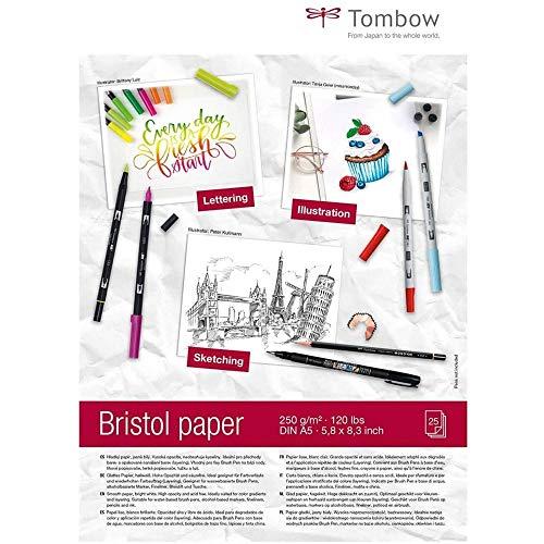 Tombow PB-MARK-5 Zeichenblock Bristol DIN A5 250 g/m² hellweiß