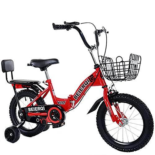 CKCL Bicicleta para Niñas Y Niños para Niños Pequeños Y Niños Plegables 12 14 16 18 Ruedas De 20 Pulgadas Adelante con Ruedas De Entrenamiento, Asiento Y Manillar Ajustables,Rojo,18inches