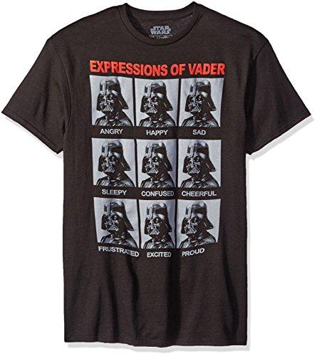 Star Wars Camiseta masculina The Many Expressions of Darth Vader, Preto, G