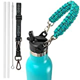 Gearproz Straw Lid, Paracord Handle for Hydro Flask Standard Mouth Water Bottle, with Shoulder Strap, 2 Straws, Cleaning Brush (Mint)