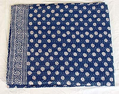 Indian Vintage Indigo Print Kantha Quilt Throw Reversible Cotton Bedspread Gudri
