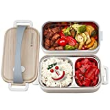 HEEKER® Exklusive 2in1 Lunchbox/brotdose mit GRATIS EBook - 1600ml bentobox für Kinder & Erwachsene - BPA frei - Fächer aus Edelstahl - ideal für Schule, Arbeit und Wandern