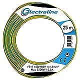 Electraline 13102Cable unipolar FS17, sección 1x 1.5mm², Amarillo/Verde, 25m