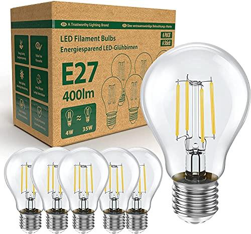Lampada LED YLS E27, 4W sostituisce lampade alogene 35W, 400 lumen, 2700K bianco caldo, filamento chiaro, lampade A60, 6 pezzi [classe energetica A+] [classe energetica A+]