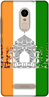 AMZER Slim Fit Handcrafted Designer Printed Snap On Hard Shell Case Back Cover for Xiaomi Redmi Note 3 - The Taj Mahal- India Flag HD Color, Ultra Light Back Case