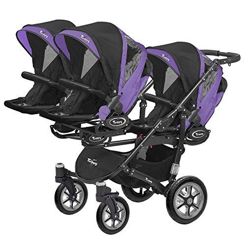 Kinderwagen für Drillinge Säugling und ältere Zwillinge 1 Gondel 3 Sportsitze Trippy Kinderwagen 2in1 schwarzer Rahmen (schwarz lila 05)