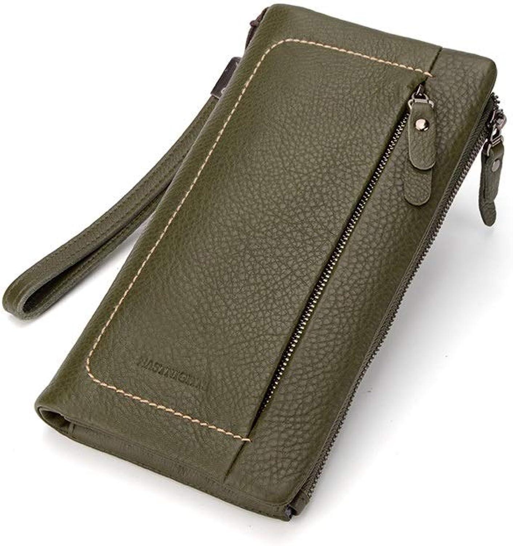 MISSKERVINFENDRIYUN Long Wallet Popular Items Ladies Zipper Wallet Popular Leather 5 colors (color   Green)