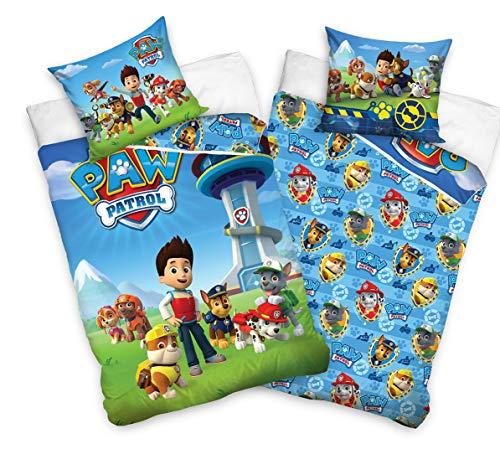 Tex Idea 195009 Juego de ropa de cama reversible de La Patrulla Canina, 135 x 200 cm y 80 x 80 cm, 100% algodón, linón