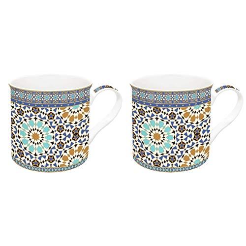 JD Diffusion 178ARAL Art Around the World Coffret de 2 Mugs Multicolore