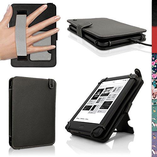 iGadgitz U3694 PU Folio Ledertasche mit Handschlaufe Kompatibel mit Kobo eReadern - Schwarz