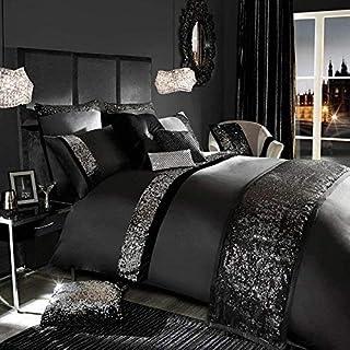 PLANET 007 - Juego de funda nórdica de 5 piezas de algodón egipcio con lentejuelas, juego de ropa de cama, regalo de Navidad, decoración del hogar, tamaño individual XL, color negro con lentejuelas de color negro y plateado