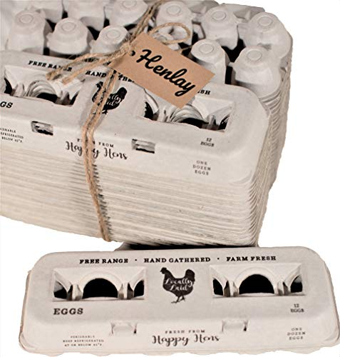 25 Egg Cartons- Adorable Printed Vintage Design for Farm Fresh Eggs, Recycled Paper Cardboard, Sturdy & Reusable, Carton Holds up to XL Chicken Eggs (25, Locally Laid Hen)
