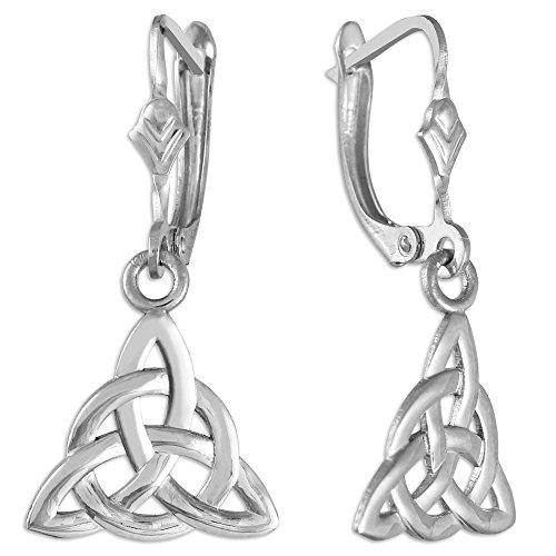 925 Sterling Silver Celtic Trinity Dangle Earrings