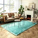 Ashler Soft Faux Sheepskin Fur Chair Couch Cover Area Rug for Bedroom Floor Sofa Living Room Turquoise Rectangle 6 x 9 Feet