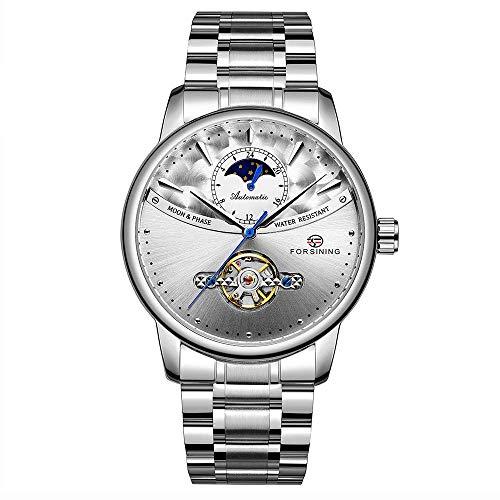 339 Tourbillon Moon Phase Wind-up Movement Reloj mecánico para hombre Reloj de lujo Skelenton para hombre Reloj de pulsera impermeable 3ATM para hombre con correa de acero inoxidable