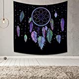 Qinunipoto Dream Catcher Tapestry Wall Hanging Trippy Hippie Tapestry Bohemian Dark Background Mandala Feathers Tapestry Boutique Wall Decor for Bedroom Living Room Dorm Home Decor 59x59inch