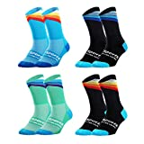 VWU Mens Cycling Socks Running Sports Socks Size 6-11 (Mens shoe size 6-11, Stripes (4 pack))