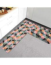JOFLY Alfombra para Cocina Lavable y Antideslizante, Felpudos Cómodos y Desinfectantes de Goma para Oficina, Salón, Habitación y Entrada Casa- Juego de 2 (44x60 + 44x120cm, Color-2)