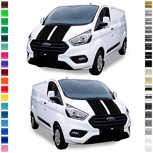 Auto-Dress® Viper-Streifen Seiten-Streifen Aufkleber Set/Dekor passend für Ford Transit Custom in Wunschfarbe (Schwarz-Glanz)