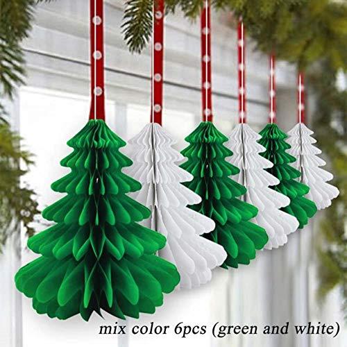 6 stücke Grün Weiß 26 cm (11 zoll) Handgemachte Waben Weihnachtsbäume Seidenpapier Bäume Herzstück/Tischmitte Für Weihnachtsfeier, mischen farbe
