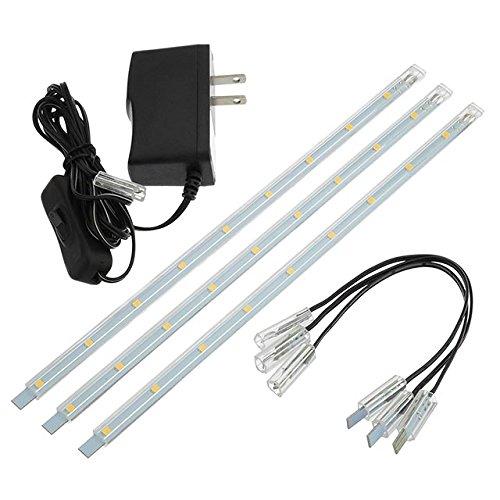 LEDwholesalers Linkable Under Cabinet Light Set of 3x 10-inch LED Strips, 1977WW
