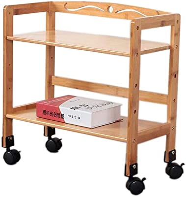 Serving Carts Bamboo Kitchen Storage Trolley Cart,Small Bookshelf, Storage Organiser Stand,Ideal for Kitchen, Living Room, Bathroom TIDLT (Color : Wood Color, Size : 43x23x50cm)