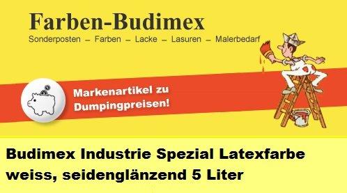 5 L Budimex Industrie Spezial Latexfarbe , weiss / seidenglänzend / Die ideale Wandfarbe für hoch beanspruchte Räume / gestrichene Flächen werden abwaschbar u. schmutzabweisend