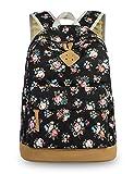 Leaper Retro-Look canvas Rucksack mit Blumen kinderrucksack mädchen schulrucksack für Schule Uni...