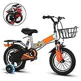 SHIN 12-14-16 Pulgadas Bici Plegable niño, Bicicletas Doblar Infantiles, Edición Clásica Bikes con Ruedas de Entrenamiento y Frenos/Orange / 16''