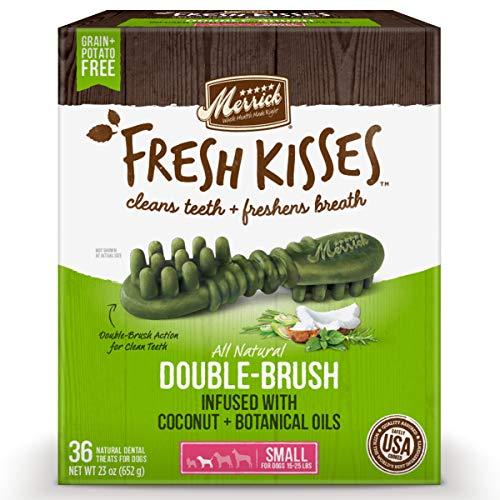 Merrick Fresh Kisses Coconut + Botanical Oils Dental Dog Treats For...