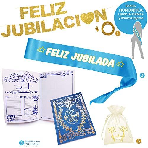 Inedit Festa - Fiesta Jubilación Banda Honorífica Feliz Jubilada, Libro Invitados, Bolsita y Guirnalda Jubilación Feliz