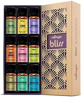 Natrogix Bliss Essential Oils - Top 9 Therapeutic Grade 100% Pure Essential Oil Set 9/10ml (Tea Tree, Lavender, Eucalyptus, Frankincense, Lemongrass, Lemon, Rosemary, Orange, Peppermint) w/Free E-Book
