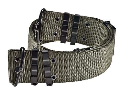 A.Blöchl AB Originales US Army Lochkoppel mit Hakenverschluss bis 130 cm verstellbar Koppel Military Koppelgürtel (Oliv)