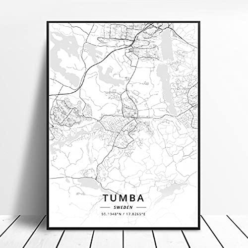 Lund Halmstad Stockholm Tumba Östersund Örebro Jonkoplng Sweden Canvas Art Map Poster ?ZQ-1703? Ingen ram poster 40x50cm