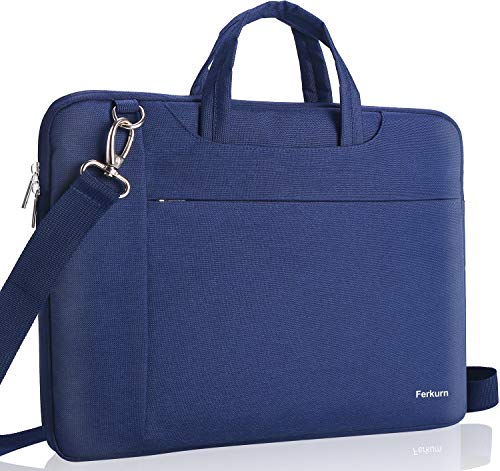 Ferkurn 17 17.3 Inch Laptop Shoulder Sleeve Water Repellent Case with Handle Compatible with MacBook 17.3'/ Acer/ASUS/XPS/HP/Microsoft, Protective Computer Carrying Bag For Men and Women,Blue