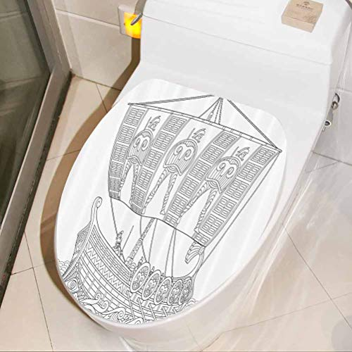Toilet Decal Ancient Greek Galley 3D Wall Stickers Self Adhesive for Home Office Living Room Wall Bathroom Toilet, W33xH41 cm