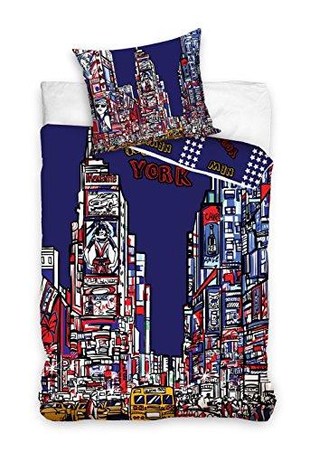 New York Linge de lit Housse de Couette 160x200 + TAIE 70x80 Idée Déco 100% Coton, Nouveauté Collection Tableau