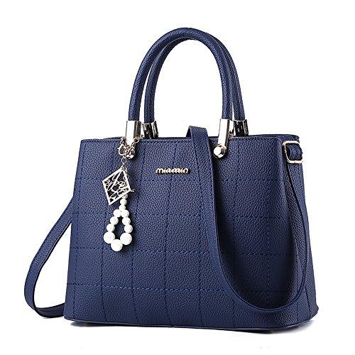 handtaschen damen Schwarz groß Leder Damen Schultertasche Frauen Umhängetasche (Blau)