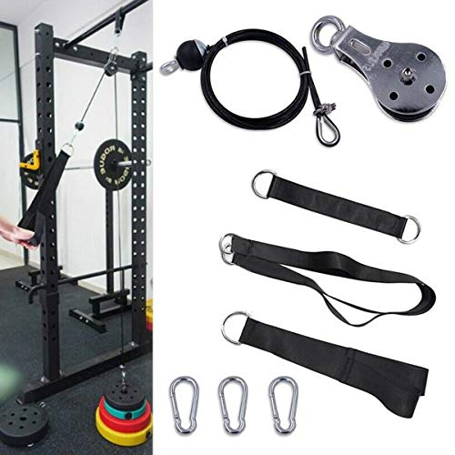 ZOTO Pulley Cable Machine Attachment System, Hand Strength Training Arm Biceps Triceps Blaster Home Gym Workout Equipment