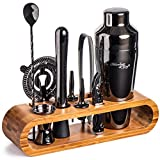 Mixology Bartender Kit: 10-Piece Bar Tool Set with Stylish Bamboo Stand | Perfect Home Bartending Kit and Martini Cocktail Shaker Set For an Awesome Drink Mixing Experience (Gun-Metal Black)