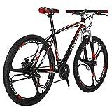 Eurobike EURX1 27.5 Inch K Wheel Mountain Bike 21 Speed MTB Bicycle Suspension Fork Mountain Bicycle BlackRed