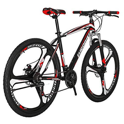 Eurobike EURX1 27.5 Inch K Wheel Mountain Bike 21 Speed MTB Bicycle Suspension Fork Mountain Bicycle BlackRed