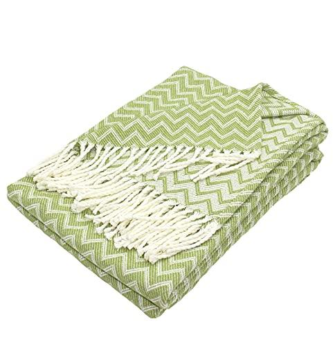 Moon Luxury Decke aus Baumwolle ca. 130x170 Kuscheldecke Zick-Zack Muster Tagesdecke mit Fransen leicht und kuschelig - weiß / hellgrün