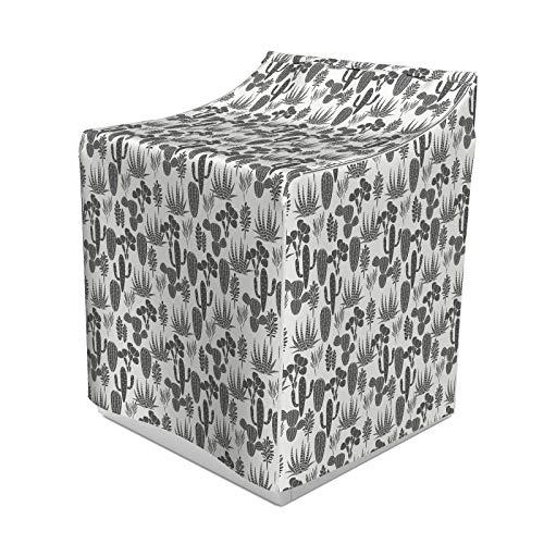 ABAKUHAUS Kaktus Waschmaschienen und Trockner, Muster der Kakteen Pflanze Silhouetten Graustufen Succulentrrangement Wüste Flora, Bezug Dekorativ aus Stoff, 70x75x100 cm, grau Elfenbein